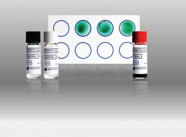 STREPTO Color Slide haemagglutination test for the rapid qualitative or semi-quantitative detection of 5 antistreptococcic antibodies in serum